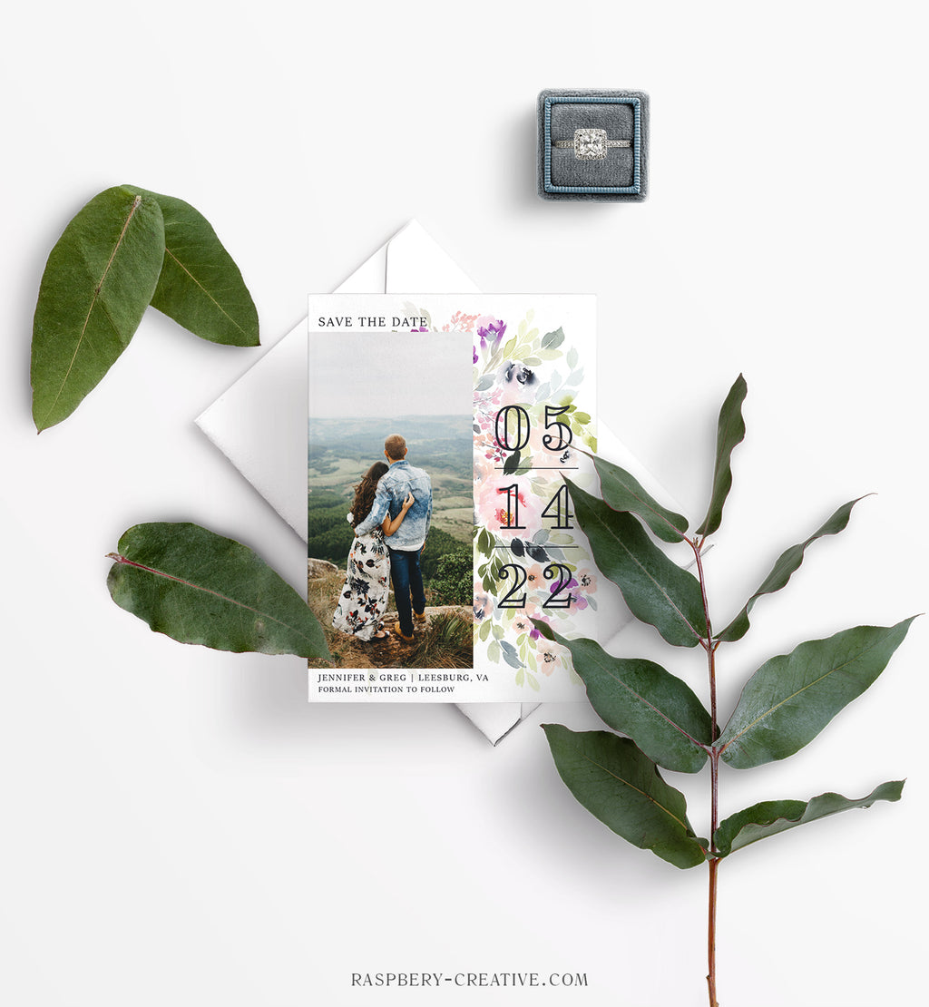 Modern Romance Photo Save the Date Card