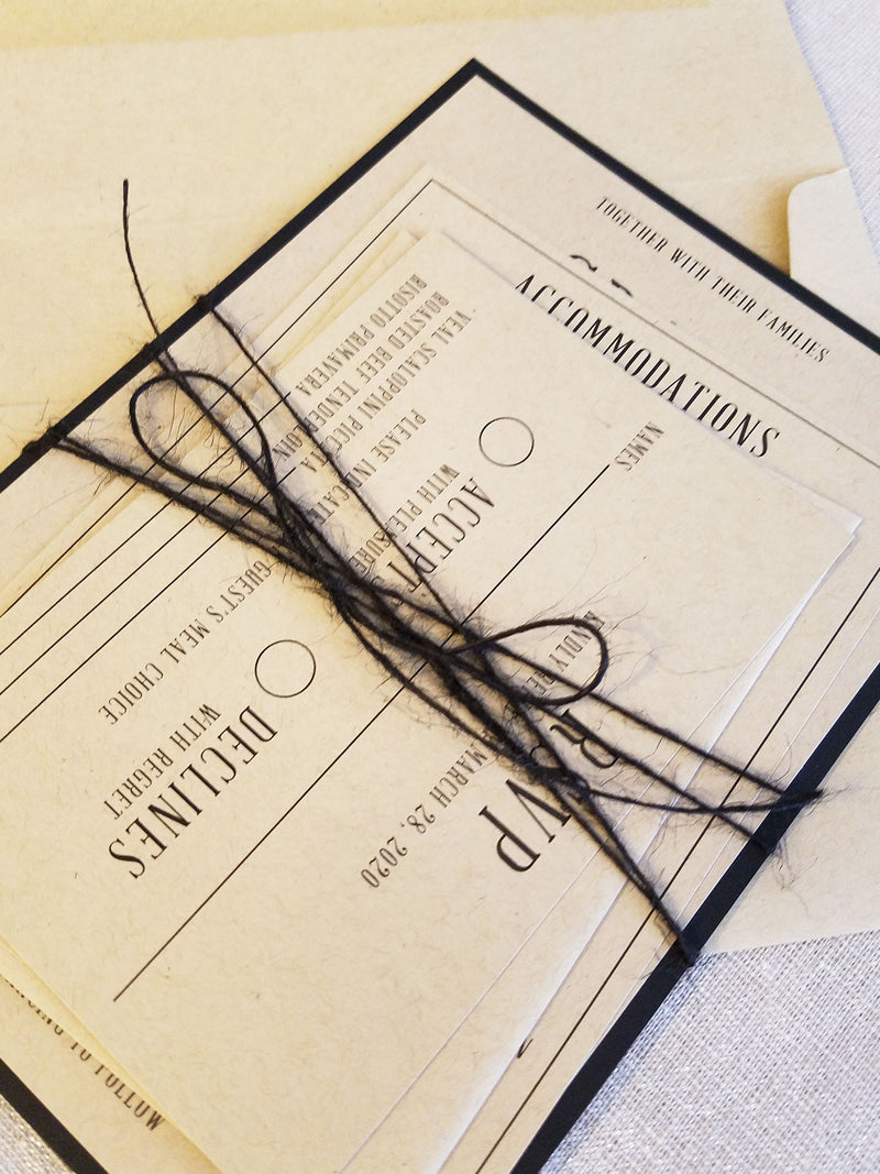 Modern Rustic Black Kraft Wedding Invitation Suite