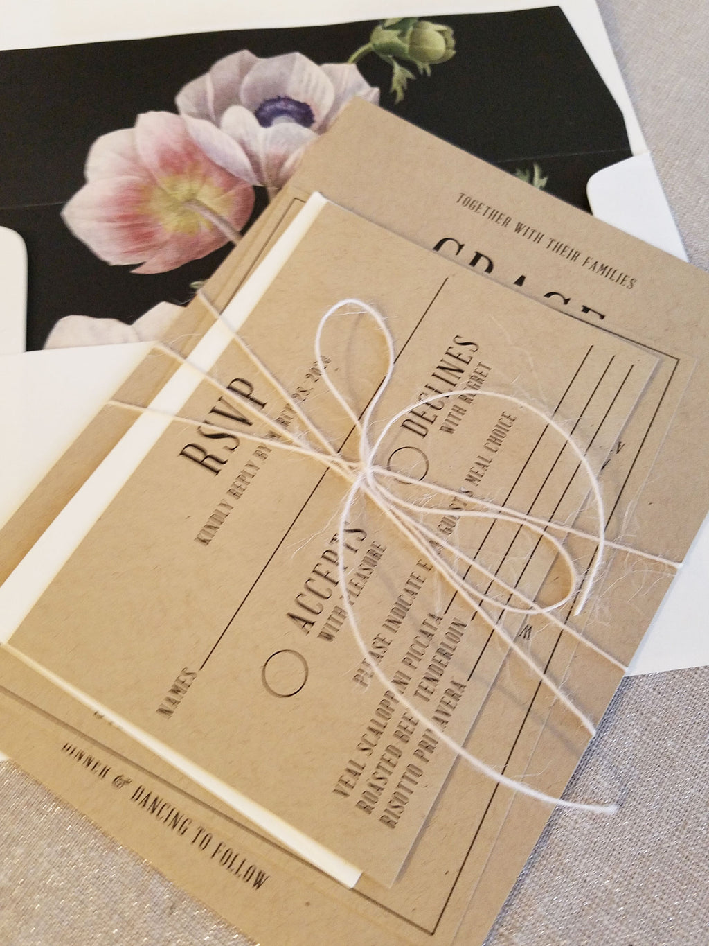 Modern Rustic Kraft Wedding Invitation Suite