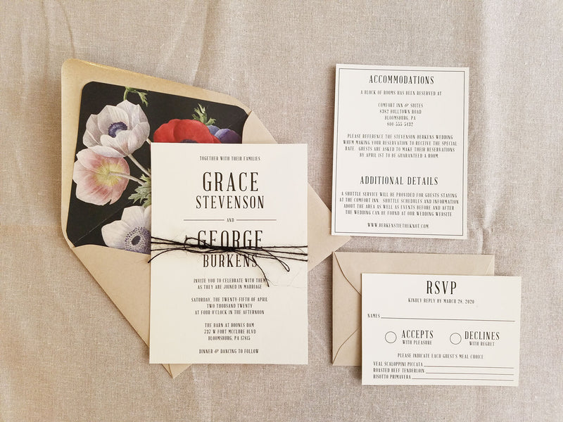 Modern Rustic Wedding Invitation Suite