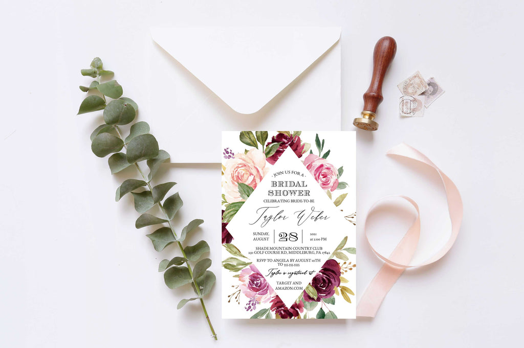 Rustic Moody Diamond Bridal Shower Invitation