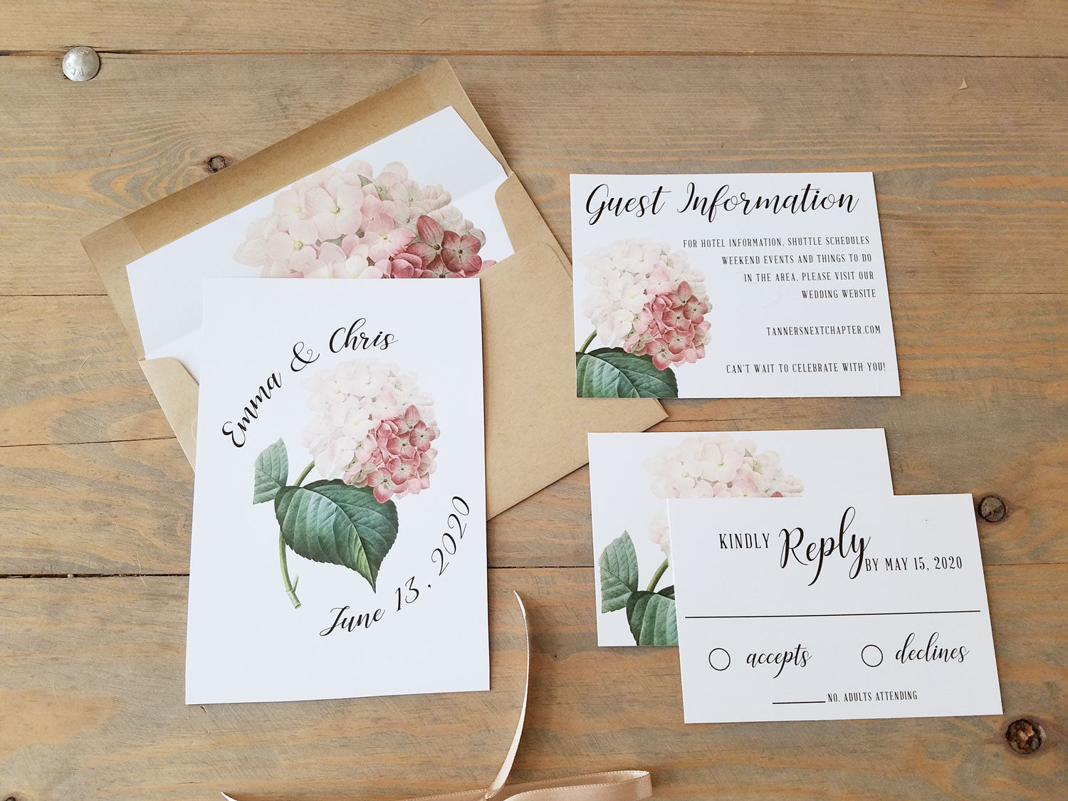 Natural Wood Wedding Invitation Suite with Hydrangeas - Raspberry ...