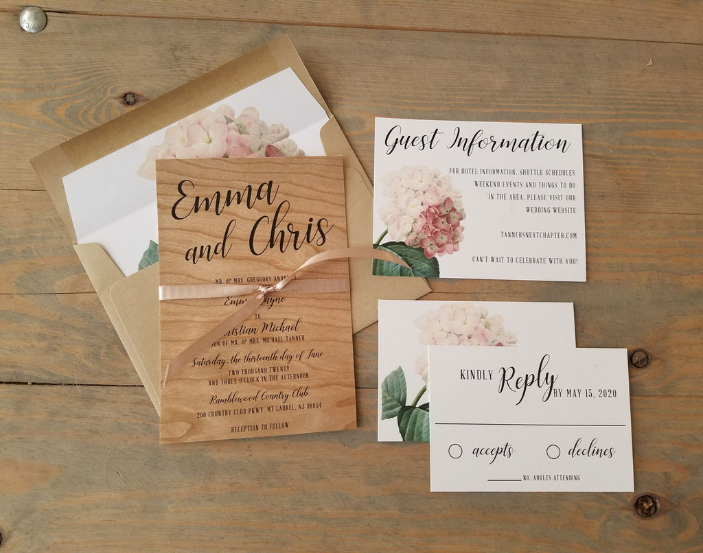 Natural Wood Hydrangea Wedding Invitation Suite