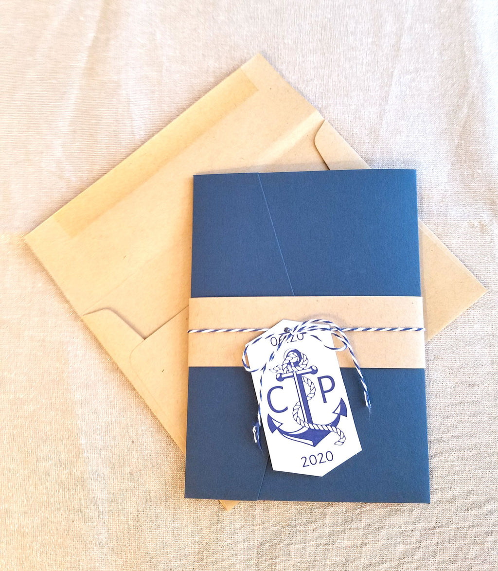 Nautical Navy Pocket Wedding Invitation Suite