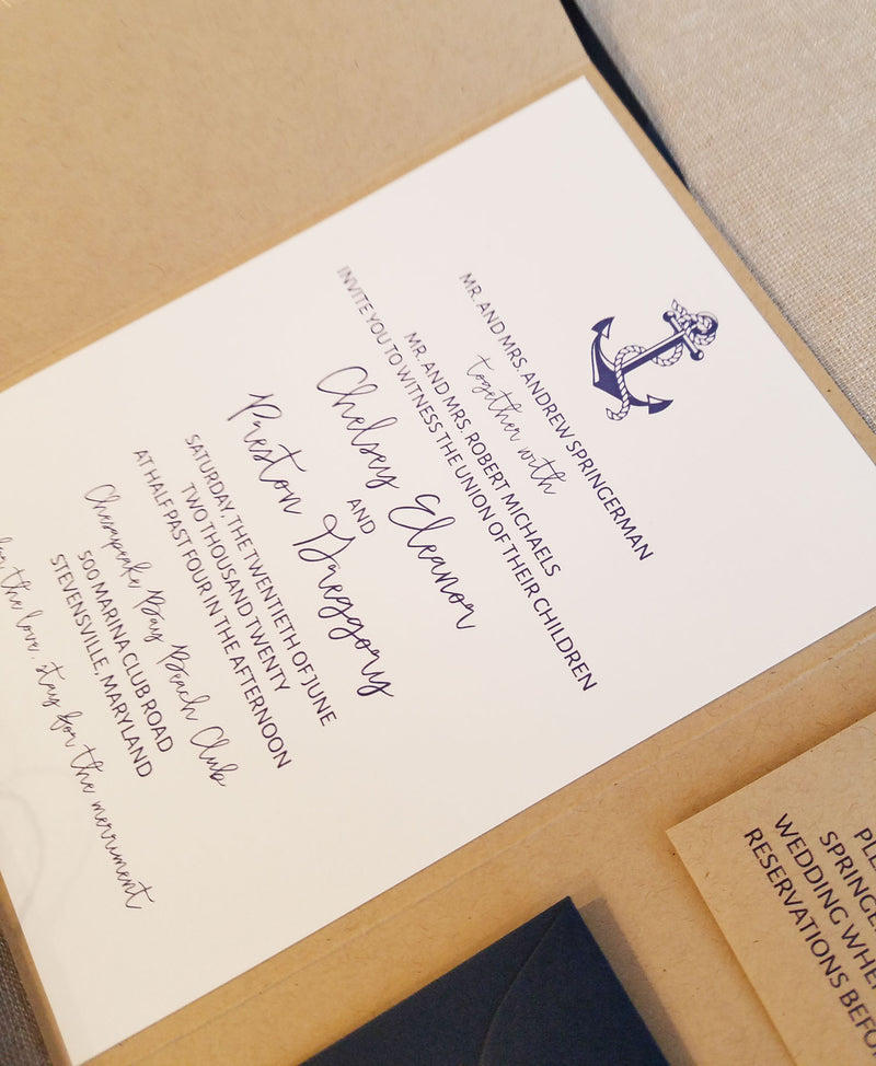 Nautical Kraft Anchor Gatefold Wedding Invitation Suite
