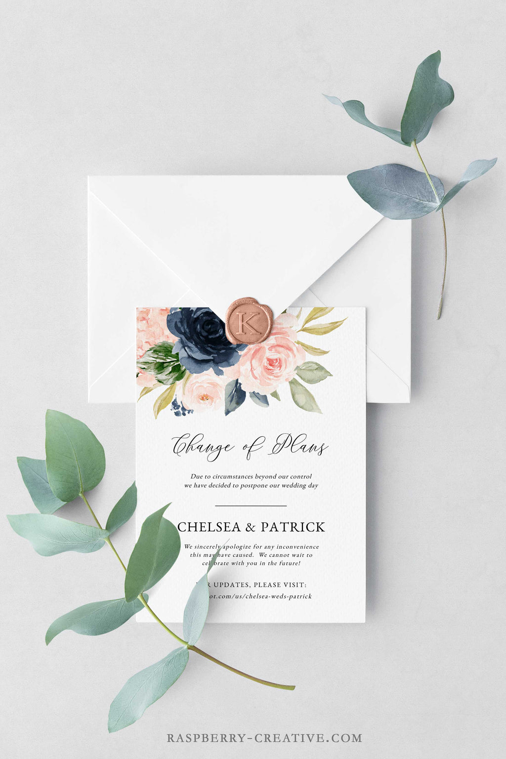 Navy and Blush Change the Date Cards