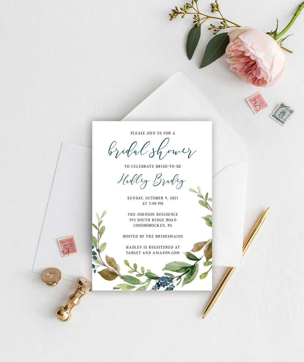 Navy Harvest Bridal Shower Invitation