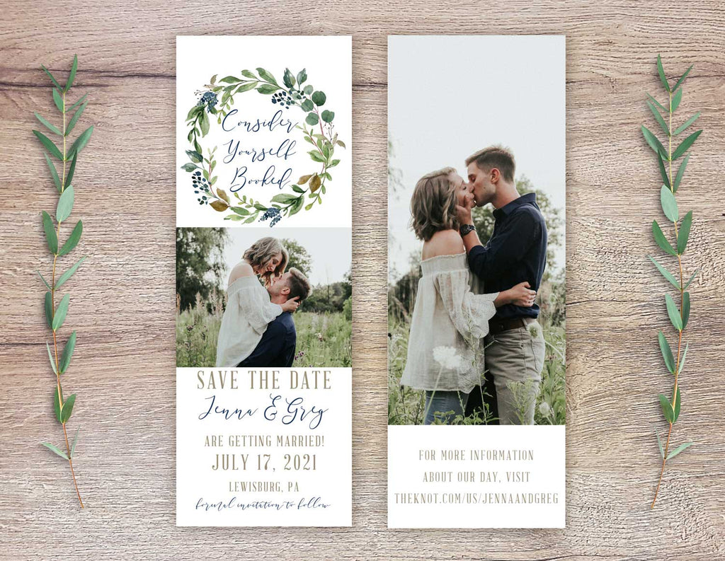 Navy Harvest Wreath Save the Date Bookmark