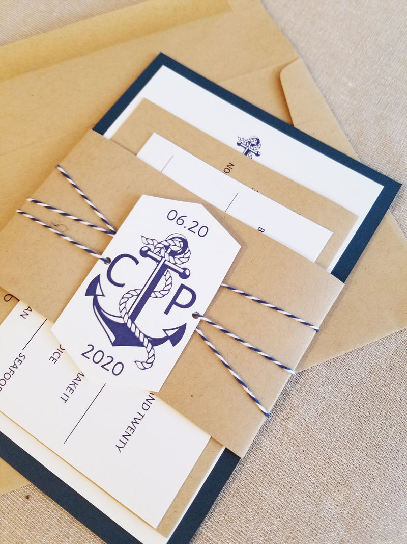 Nautical Rustic Wedding Invitation Suite Navy Blue and Kraft