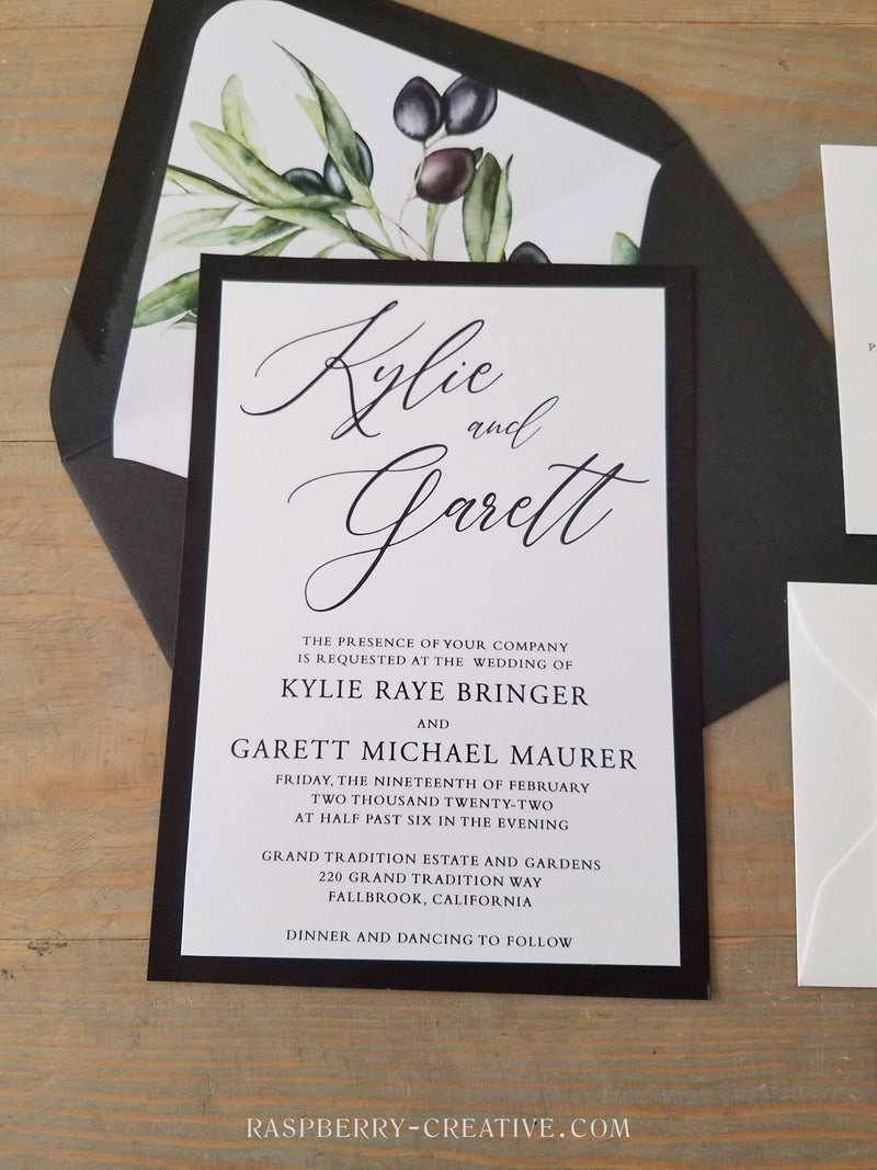 Black and Olive Vellum Wedding Invitation Suite