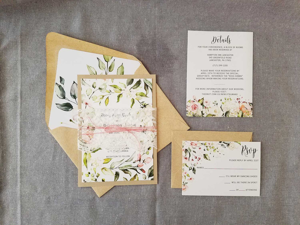 Blush Greenery Border Wedding Invitation with Lace
