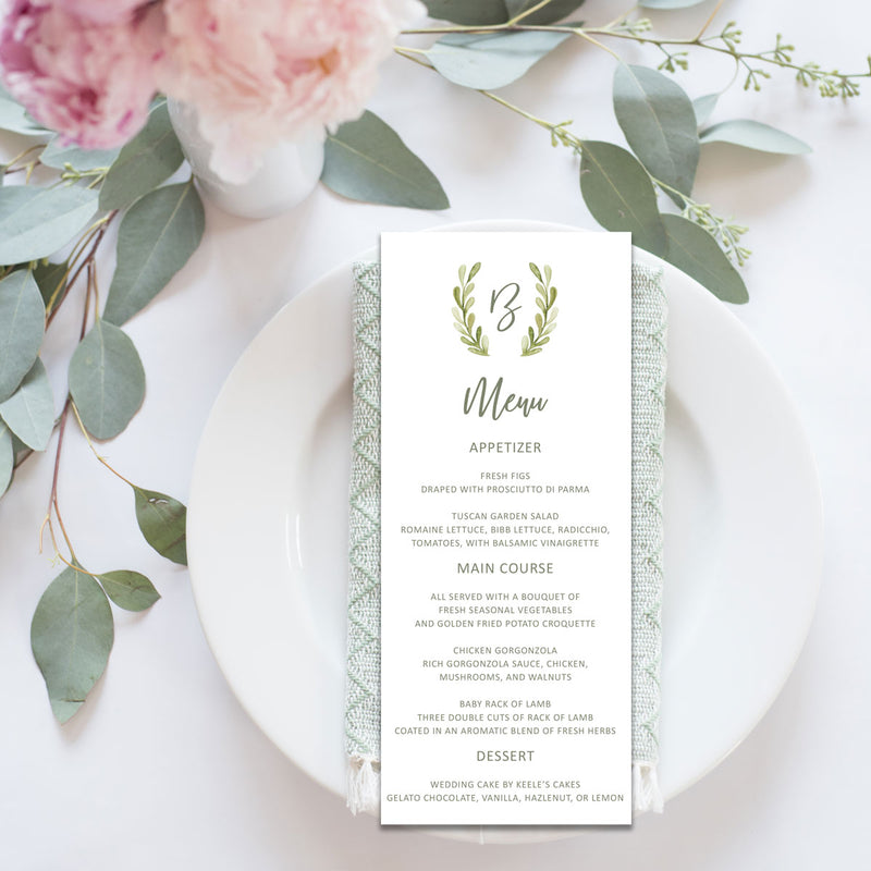 Greenery Wreath Wedding Reception Menu Card
