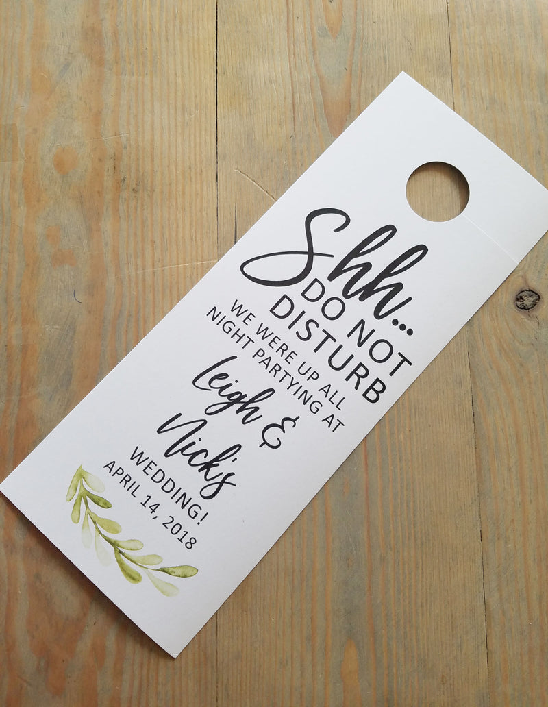 Painted Greenery Do Not Disturb Door Hanger