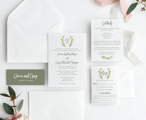 Greenery Monogram Wedding Invitation Suite
