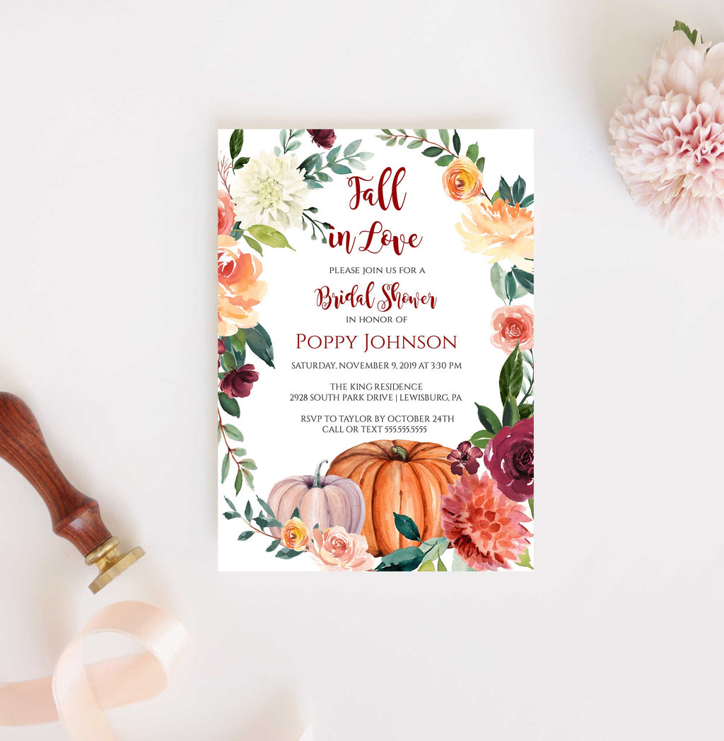 Paprika Fall Pumpkin Bridal Shower Invitation