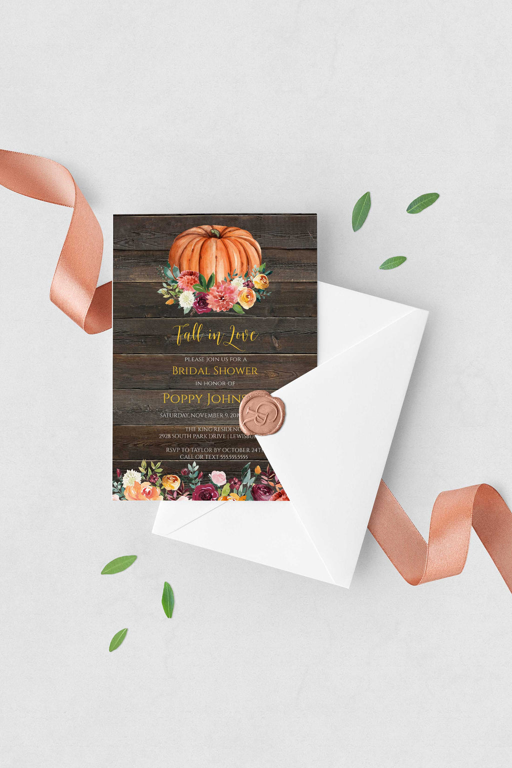 Paprika Rustic Fall Pumpkin Bridal Shower Invitation