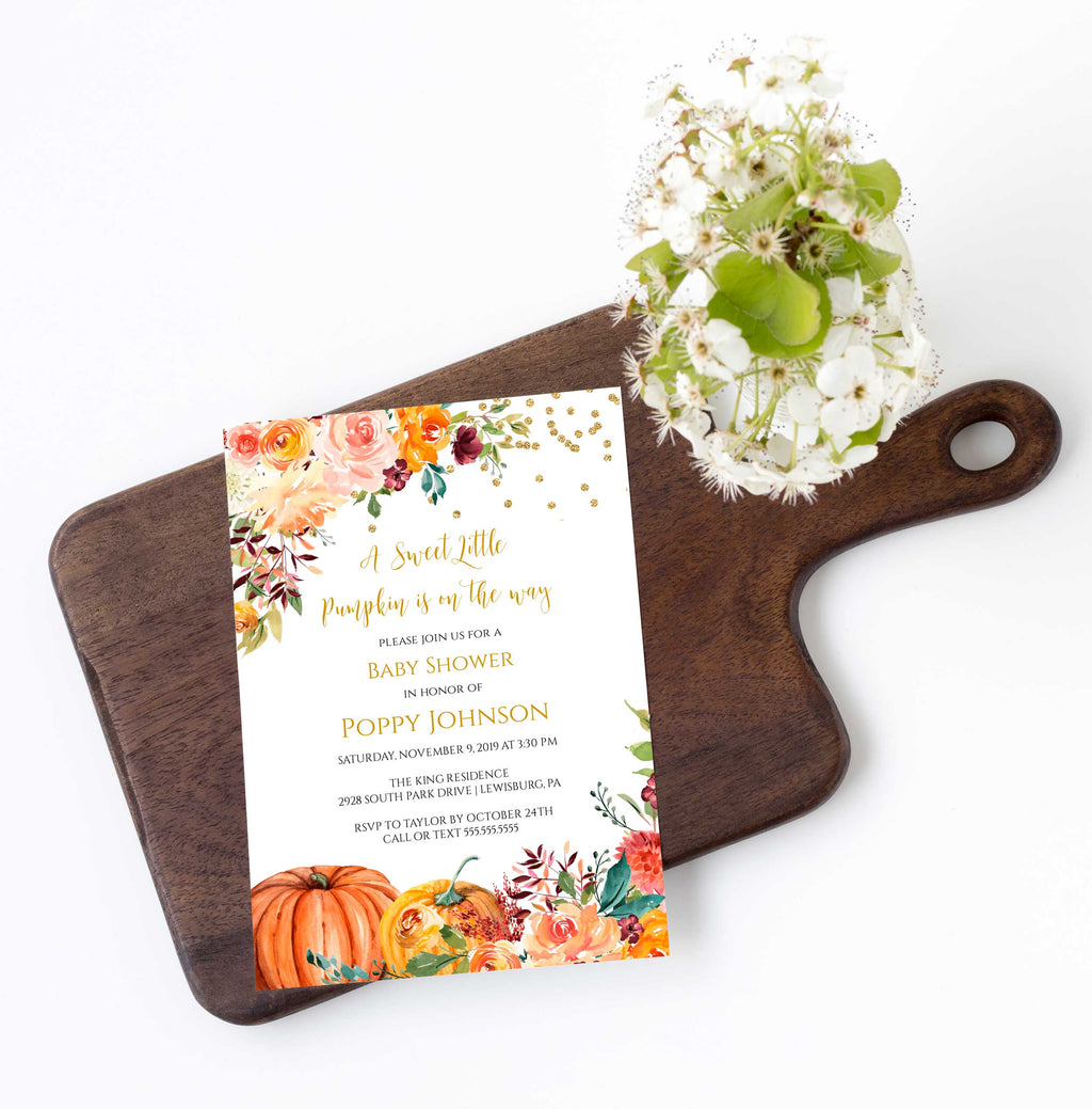 Sweet Little Pumpkin Fall Baby Shower Invitation