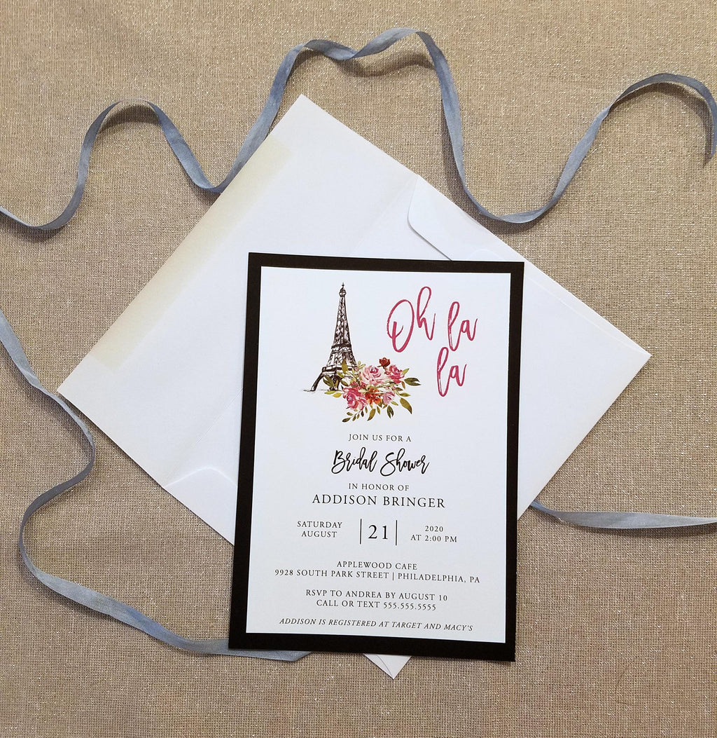 Paris Theme Eiffel Tower Bridal Shower Invitation