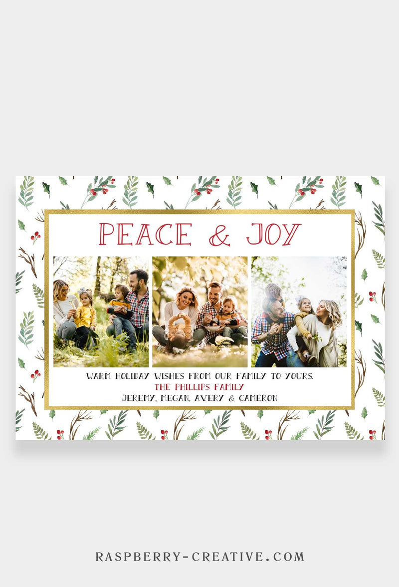 Greenery and Gold Pattern - Holiday Photo Greeting Card
