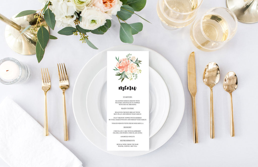 Peach Bouquet Wedding Menu Card