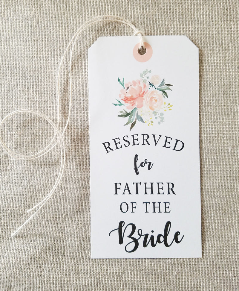 Peach Bouquet Reserved Seating Tags