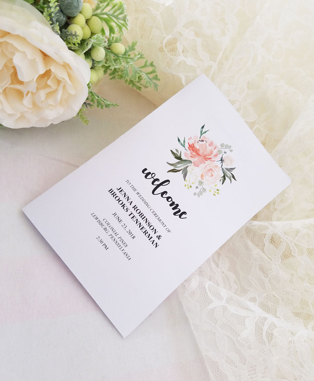 Peach Bouquet Wedding Program Booklet