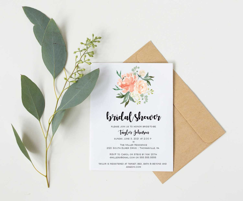 Peach Bouquet Bridal Shower Invitation