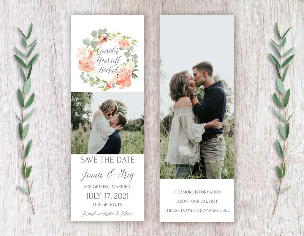 Peach Floral Wreath Save the Date Bookmark