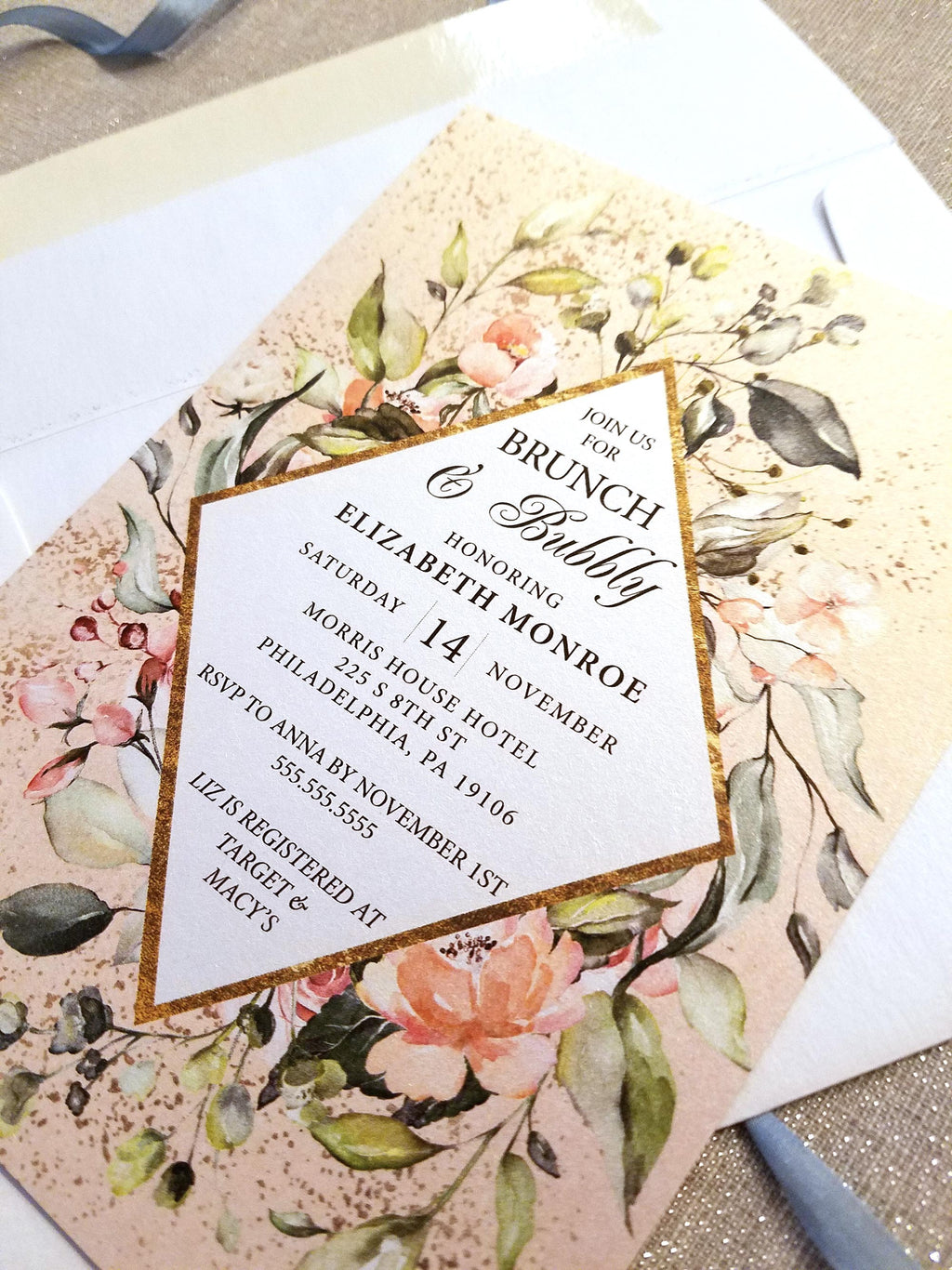 Peach and Gold Geometric Brunch and Bubbly Bridal Shower Invitation