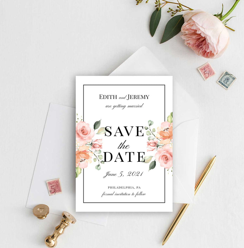 Peach Greenery Bouquet Border Save the Date Card