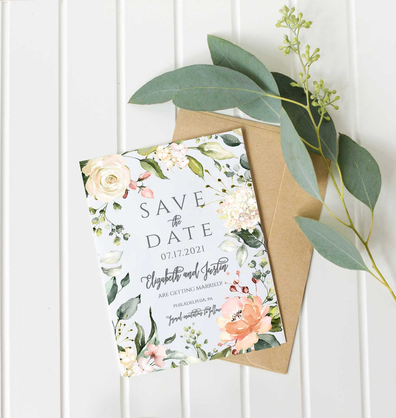 Peach Floral Border Save the Date Card