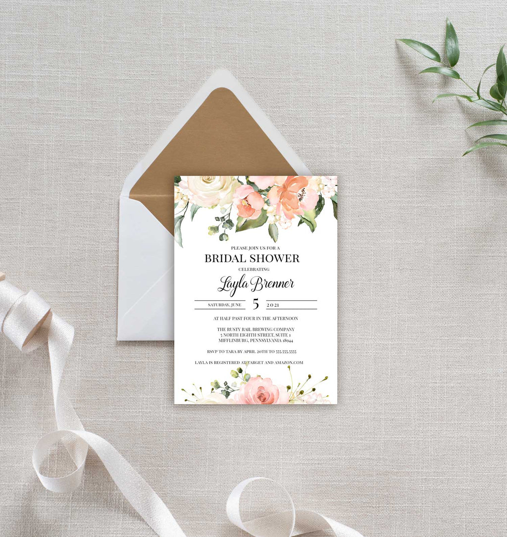 Peach and Greenery Border Bridal Shower Invitation