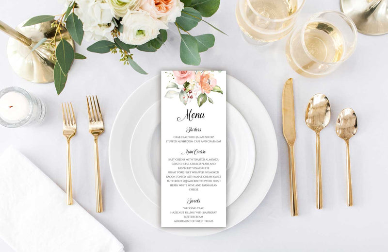 Peach Greenery Bouquet Wedding Menu Card