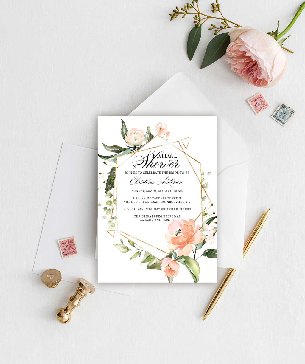 Gold Geometric and Floral Bridal Shower Invitation