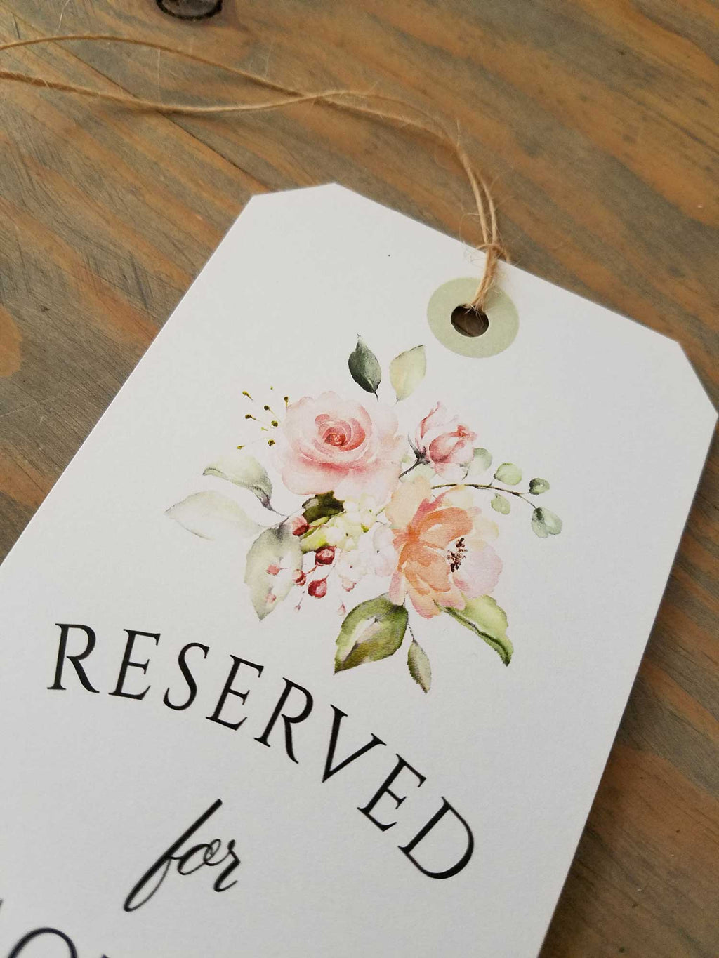 Peach Greenery Reserved Seating Tags