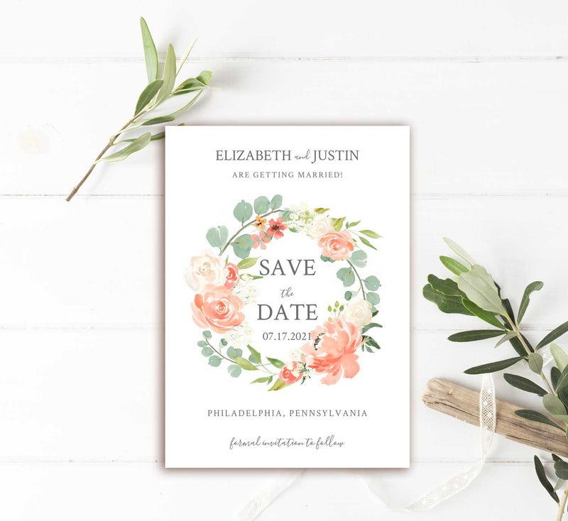 Peach Flowers and Greenery Wreath Save the Date Card
