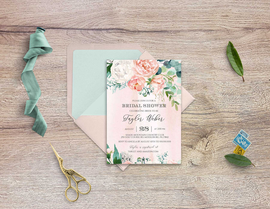 Pink Peonies Bridal Shower Invitation