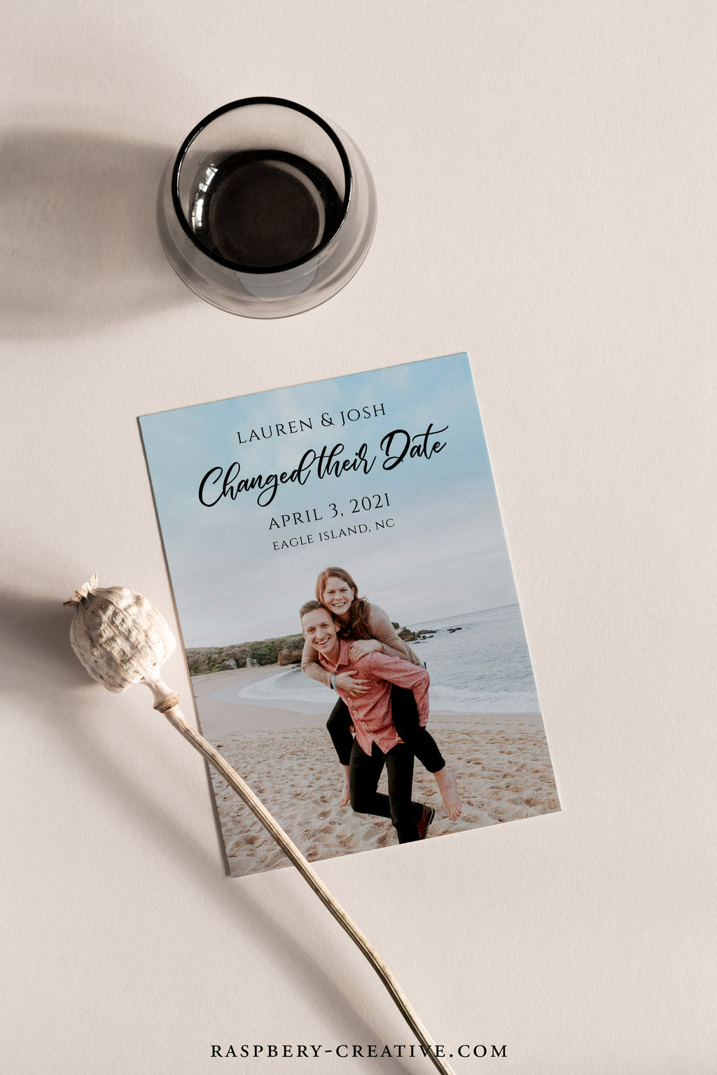 Modern Calligraphy Photo Change the Date Cards