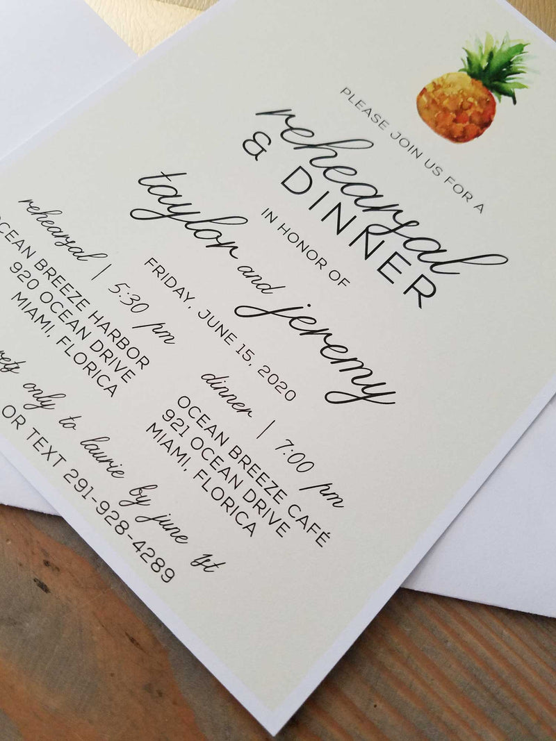 Tropical Pineapple Rehearsal Dinner Invitation