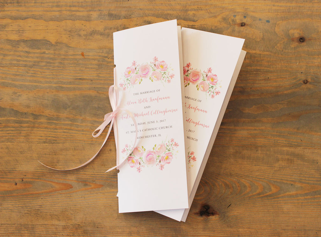 Blush Pink Watercolor Floral Booklet Program for Wedding
