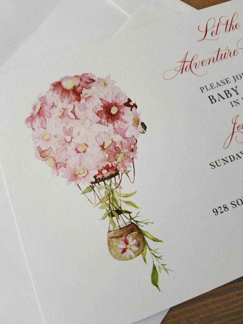 Pink Hot Air Balloon Let the Adventure Begin Baby Shower Invitation