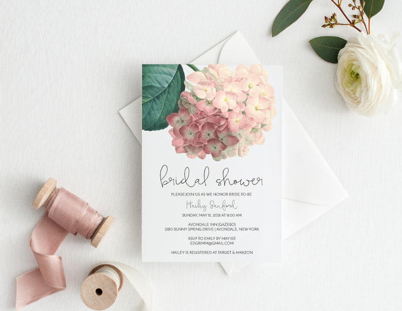 Antique Hydrangea Bridal Shower Invitation