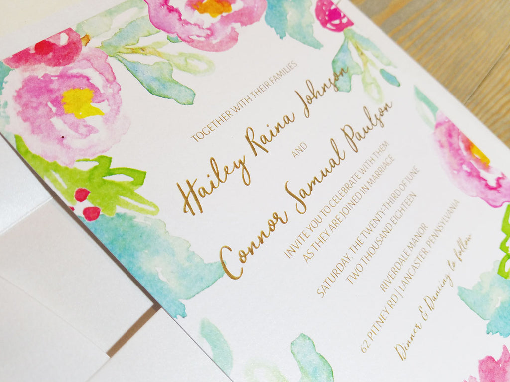 Pink & Mint Watercolor Floral Wedding Invitation