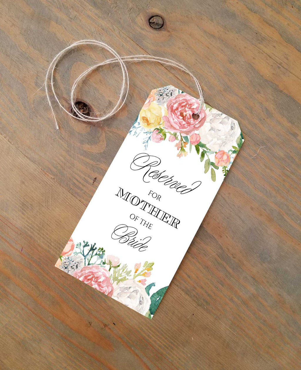 Pink Peonies Reserved Seating Tags