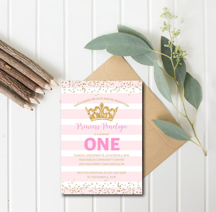 Little Princess Pink and Gold Birthday Invitation