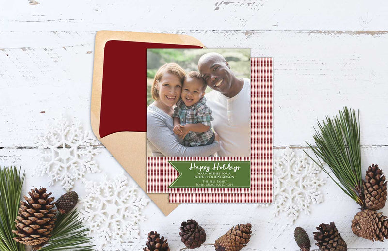 Red Polka Dot Holiday Photo Greeting Card