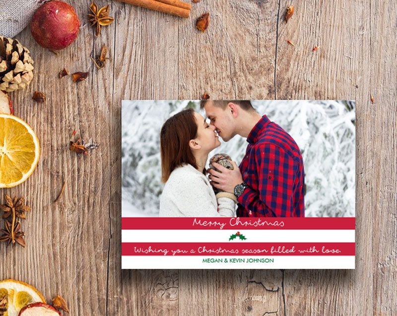 Bold Stripes Modern Holiday Photo Greeting Card