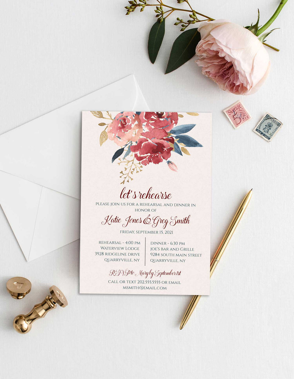Burgundy and Teal Rehearsal Invitation