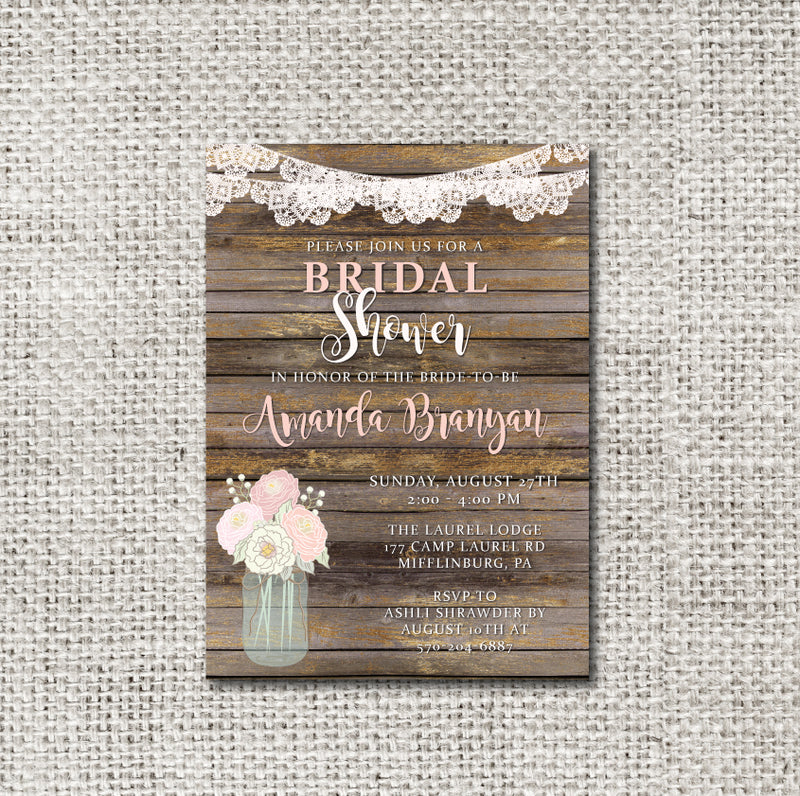 Romantic Rustic Lace Bridal Shower Invitation