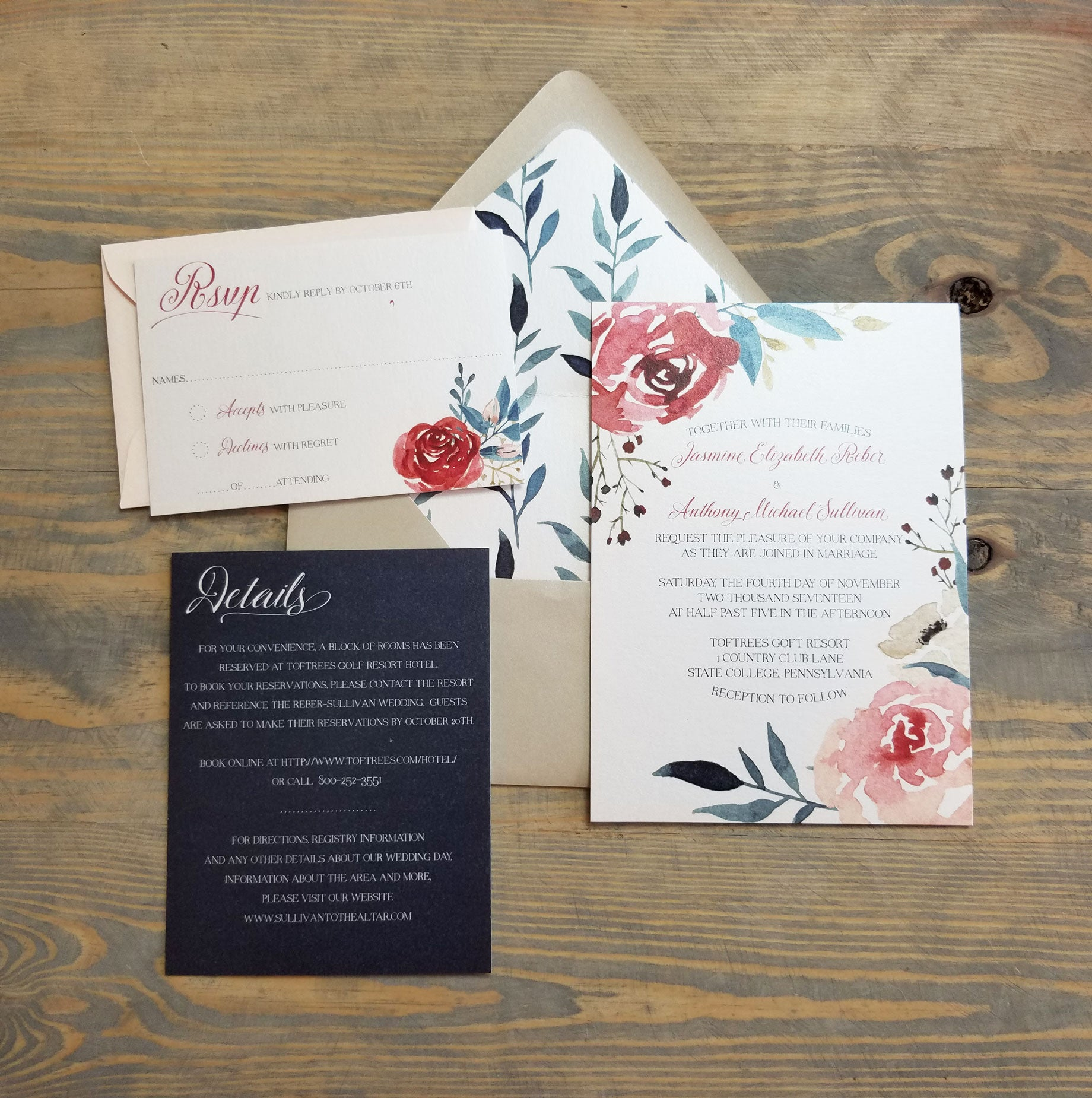 Romantic Burgundy Blush And Teal Wedding Invitation Suite